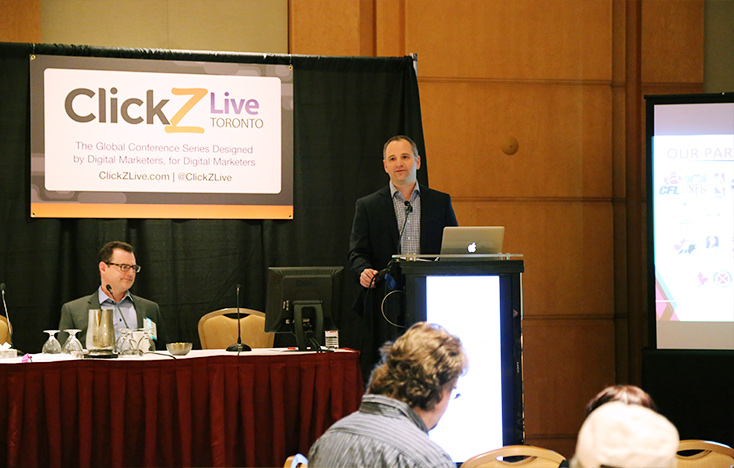 Mark Silver giving a keynote talk at ClickZ Live Toronto 2014. Mark is Head of Digital for The Sports Network (TSN).
